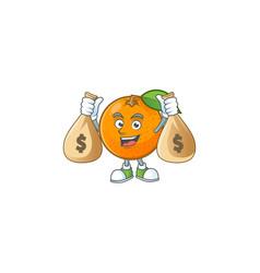 With money bag orange fruit cartoon with leaf vector