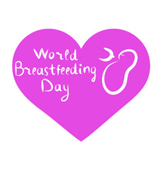 world breastfeeding day inscription lettering vector image