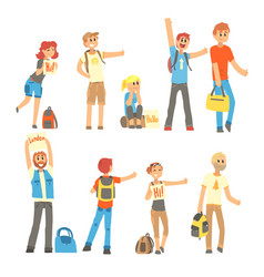 young people standing with a sign hitchhiking and vector image