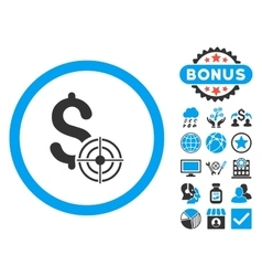 Business Target Flat Icon with Bonus vector image vector image