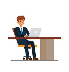 businessman working at desk at notebook cartoon vector image vector image