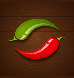 chili on wooden background vector image vector image