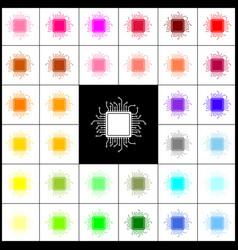 cpu microprocessor felt-pen vector image vector image
