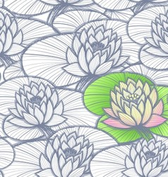 Ink hand drawn lotus coloring pattern vector image vector image