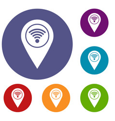 Map pin pointer with wi fi symbol icons set vector