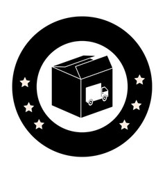 Monochrome circular emblem with open packing box vector