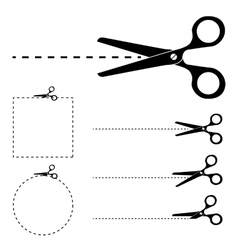 Scissors silhouette and cut lines set vector image