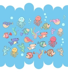 Sea inhabitants vector image