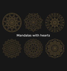 set gold mandalas with hearts collection symmetric vector image vector image