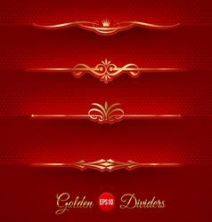 set of golden decorative dividers vector image vector image