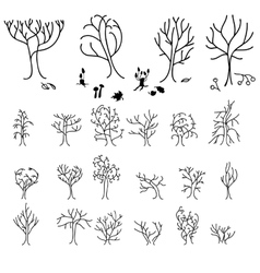 Set with different stylized forest trees vector image