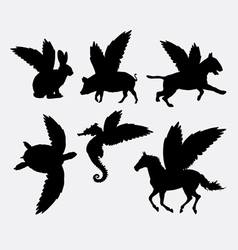 Animal with wings silhouette vector image vector image