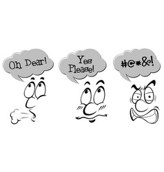 character with expression phrases vector image