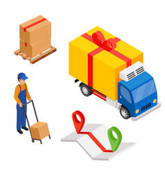 delivery cargo with map and pins delivery worker vector image vector image