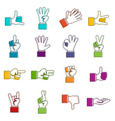 hand gesture icons doodle set vector image