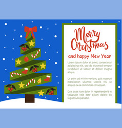 merry christmas happy new year poster withtree vector image vector image