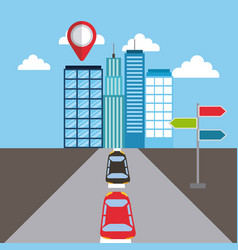 navigation buildings car street pointer location vector image