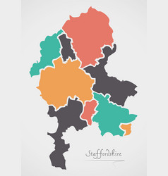 staffordshire england map with states and modern vector image vector image