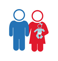 white background of pictogram with couple and baby vector image vector image