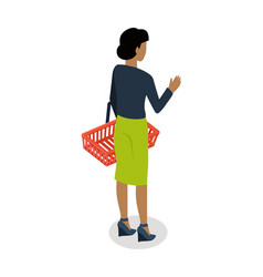 woman with basket buying daily products vector image vector image