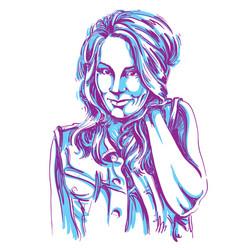 Art drawing portrait of gorgeous flirting girl vector