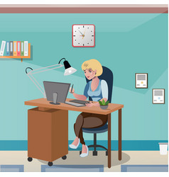 businesswoman sitting at the desk working with vector image