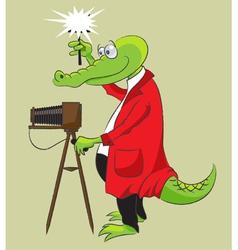Crocodile photographer vector image vector image