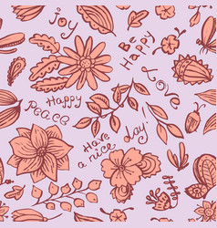 floral seamless pattern with butterfly and bugs vector image vector image