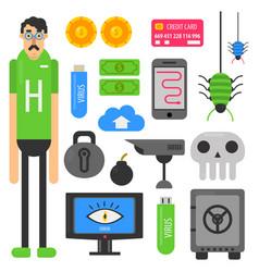 internet hacker computer phishing malware viruses vector image vector image