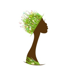 Organic hair care concept female head with hat vector image vector image