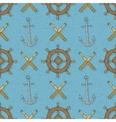 Seamless Pattern with AnchorsRetro Ship vector image vector image