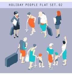 Tourist People 3D Flat Isometric Set 02 vector image vector image