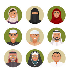 arabic men and women of all ages portraits in vector image vector image