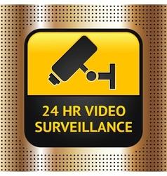 CCTV symbol on a golden metallic background vector image vector image