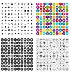 100 construction materials icons set vector image