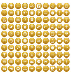 100 traffic icons set gold vector