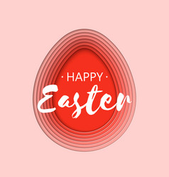 3d abstract paper cut coral easter egg shape vector image