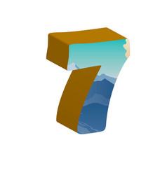 3d number seven of 3d font vector image