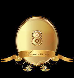 8th golden anniversary birthday seal icon vector image