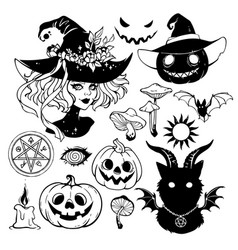 a set of black drawings and silhouettes vector image