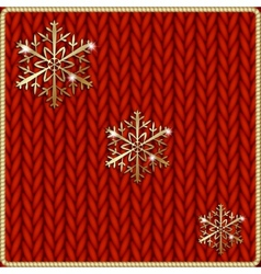 abstract knitted red background with yellow vector image