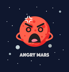angry mars character emoticon on space background vector image