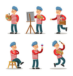 Artist cartoon character set painter with palette vector