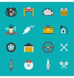 Auto Service Icons Flat set vector image
