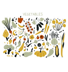 autumn objects set with vector image