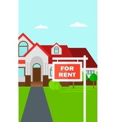 Background of house with for rent real estate sign vector