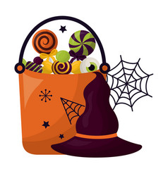 basket halloween with candies and hat witch vector image