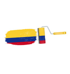 brush stroke with colombia national flag isolated vector image