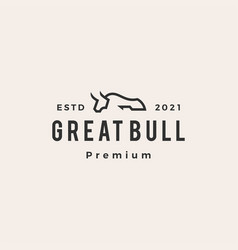 bull line hipster vintage logo icon vector image