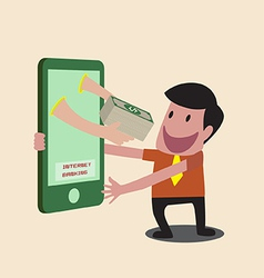 Business man receiving money over mobile internet vector